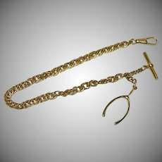 Vintage Gold Tone Wish Bone Watch Fob Chain