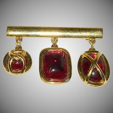 "Napier! Blood Red Molded Caged ""Stone"" Dangler Brooch"
