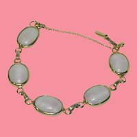 "Book Piece! Sarah Coventry Art Glass Bracelet ""Pink Shadows"""
