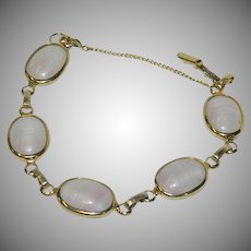 "Book Piece! Sarah Coventry Art Glass Bracelet ""Pink Shadows"""