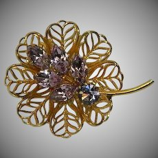 Sparkling Purple Rhinestone Filigree Flower Brooch
