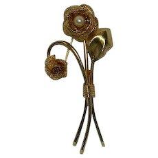 Long Stemmed Cultured Pearl Rose Pin Brooch