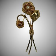 Long Stemmed Cultured Pearl Rose Pin Brooch