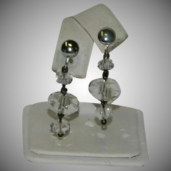 Ritzy Art Deco Rock Crystal Faceted Bead Dangler Earrings