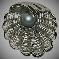 Elegant Napier Filigree Clam Shell Faux Pearl Brooch