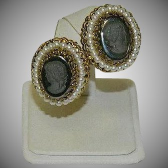 West Germany Hematite Cameo Filigree Earrings