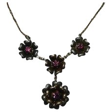 Gorgeous Sterling Silver and Vermeil Flower Bud Rhinestone Lavaliere Necklace