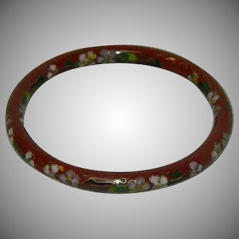 Vintage Cloisonne Bangle Bracelet Burnt Orange Green Pink
