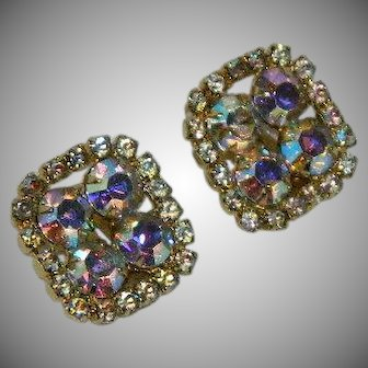 Fabulous Aurora Borealis Rhinestone Square Earrings