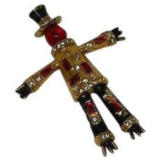 Red Glass Top Hat Scarecrow Brooch Rhinestones
