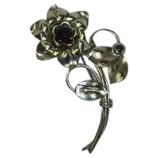 Harry Iskin Sterling Silver Purple Stone Flower Brooch