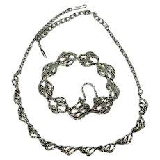 Silver Tone Beauty Coro Necklace and Bracelet Set