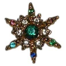 1940's Six Star Colorful Rhinestone Pin