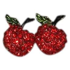 Rhinestone Double Cherry Brooch