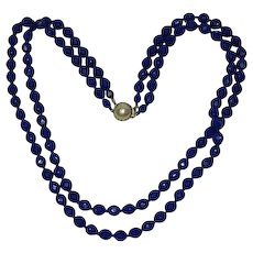 Cobalt Blue Faceted Glass Double Strand Faux Pearl Necklace