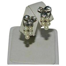 950 Sterling Silver Cultured Pearls Grape Cluster Vines Earrings