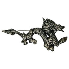 Vintage Pewter Dragon Pin Mystic Mythical