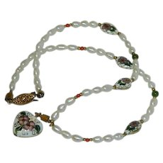 Cloisonne Fresh Water Pearl and Coral Necklace