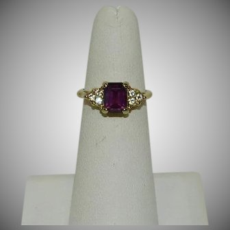 Gold Plated Purple Glass Stone Cocktail Ring sz 6