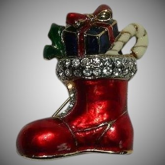 Sparkling Christmas Boot with Gifts Brooch