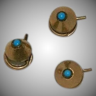 Very Rare Victorian 12k Gold Turquoise Coil Screw Collar Pins set of 3