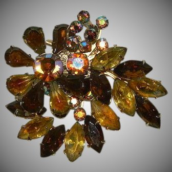 Spectacular Autumn Amber & Topaz Rhinestone Jeweled Brooch