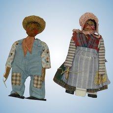 Pair Nut Head Dolls Hillbilly Dolls By Ozark Mountaineers