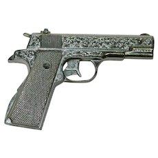 Fancy Cap Gun Pistol Toy Gun Silver Etched