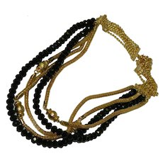 Sexy Gold Mesh Black Glass Beaded Multi Strand Necklace