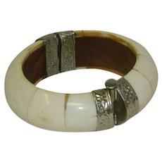 Vintage Bone Bangle with Trombone Clasp