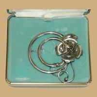 Sterling Silver Van Dell Rose Brooch in Original Box