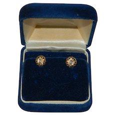 Victorian 10k Yellow Gold Diamond Earrings in Original Box