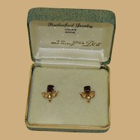 Elegant Original Boxed Van Dell Amber Peridot Gold Filled Earrings