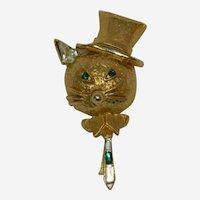 Fabulous Cat in a Top Hat Rhinestone Brooch