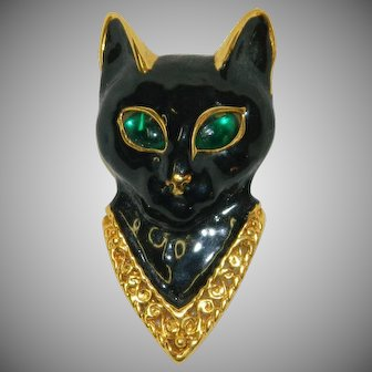 Black Magic Enamel Cat Face Rhinestone Brooch