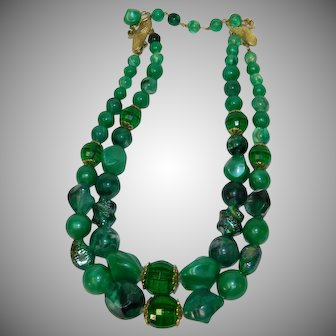 Coro Dreamy Green Double Strand Beaded Necklace