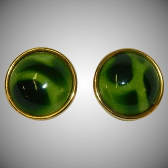Beautiful Marbled Green Yellow Button Earrings