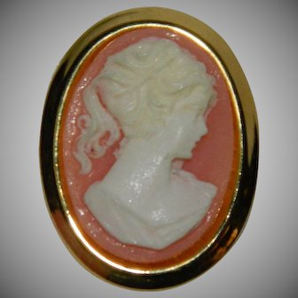 Pretty 1950's Pink Cameo Brooch Pin