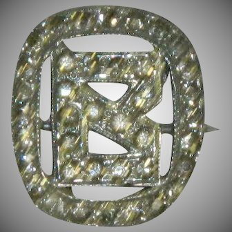 "Art Deco Paste Stone Initial ""B"" Pin"