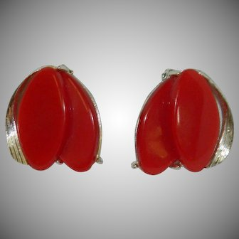 Gorgeous Red Thermoset Plastic Silver Tone Ribbon Earrings
