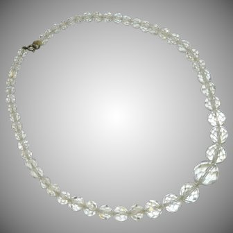 Multifaceted Rock Crystal Single Strand Graduated Bead Necklace