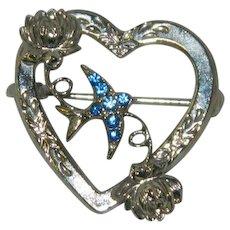 Pretty Blue Rhinestone Sweethearts Brooch Pin WWII