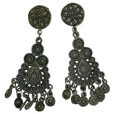 Massive Etruscan Revival Dangler Earrings