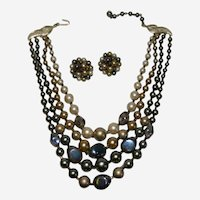 Japan Import Multistrand Opaque Faux Pearl Copper Necklace and Earring Set
