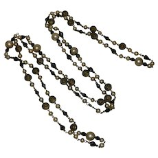 Art Deco Flapper Long Faux Pearl, Jet and brass Beaded Necklace