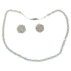 Crystal Beaded Necklace on Sterling Chain w Matching Earrings