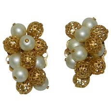 Remarkable Faux Pearls Gold Filigree Ball Cluster Earrings