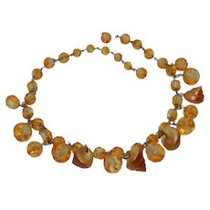 Glowing Orange Lucite Beads and Shells Necklace