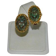 Spectacular Egyptian Revival Celluloid King Tut Earrings