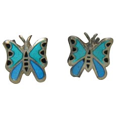Sterling Silver Enamel Butterfly Earrings Pierced